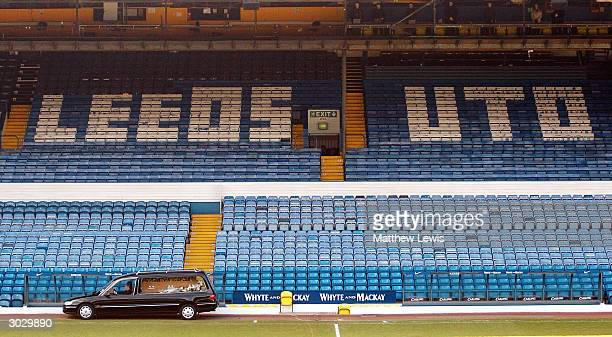 The Hearse carries John Charles into Elland Road during the John Charles Memorial Service at Elland Road on March 1 2004 in Leeds England