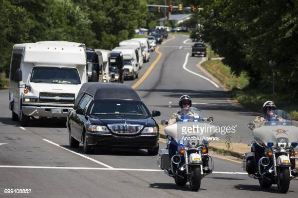 The hearse carrying Nabra Hassanen who was murdered Sunday on her way back to an overnight event at the All Dulles Area Muslim Society arrives at the...