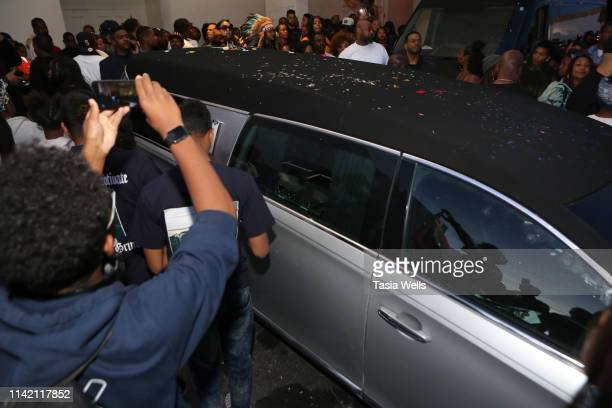 The hearse carrying Nipsey Hussle's body arrives at Angelus Funeral Home after Nipsey Hussle's Celebration of Life and Funeral Procession on April 11...