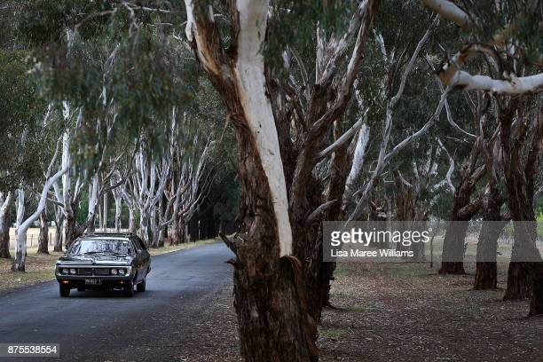 The hearse carrying the 40,000 year old remains of Mungo Man and ancestors continues it's journey home to country on November 16, 2017 in Wagga...