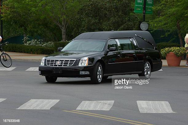 The hearse carrying the casket departs the grounds of the Grand Ole Opry at the funeral service for George Jones at The Grand Ole Opry on May 2 2013...