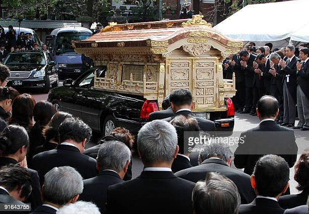 The hearse carrying the casket of ex Finance Minister Shoichi Nakagawa leaves Zempukuji Temple on October 9 2009 in Tokyo Japan Nakagawa found dead...
