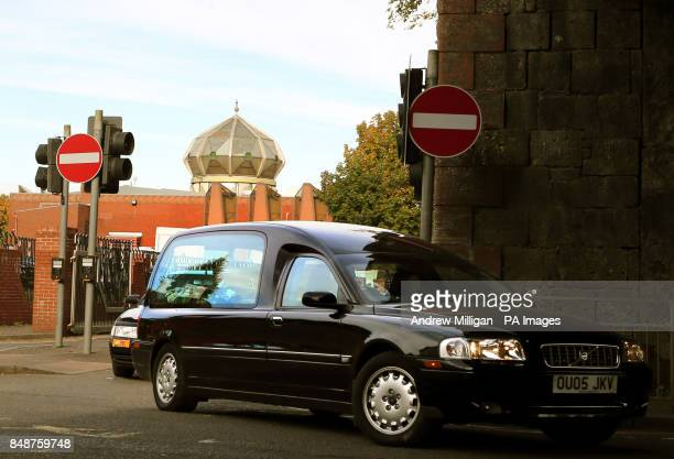 The hearse carrying the coffin of Fazal Ahmad leaves Glasgow Central Mosque after his funeral as hundreds of mourners gathered for the funeral of the...