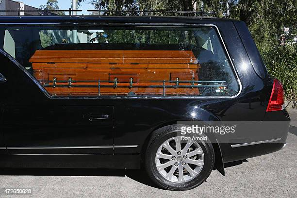 The hearse carrying the coffin of Myuran Sukumaran arrives at Dayspring Church Castle Hill on May 9 2015 in Sydney Australia Andrew Chan and Myuran...