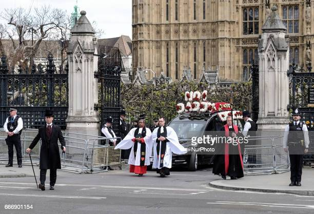 The hearse carrying the coffin of PC Keith Palmer the officer killed in the March 22 Westminster terror attack leaves the Chapel of St Mary...