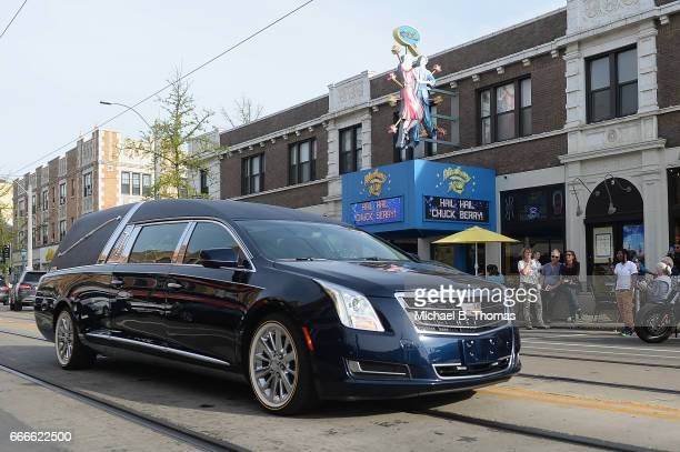 The hearse carrying the remains of RocknRoll legend Chuck Berry is seen during a processional outside of Blueberry Hill Restaurant in the Delmar Loop...