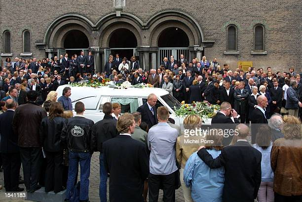 The hearse containing the coffin of Dutch politician Pim Fortuyn leaves Laurentius and Elisabeth Cathedral after his funeral service May 10 2002 in...