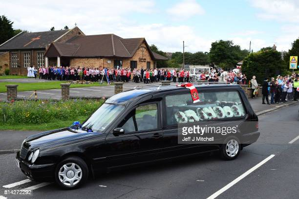 The hearse departs St Joseph's Church after the funeral service for six year old Sunderland FC fan Bradley Lowery on July 14 2017 in Hartlepool...
