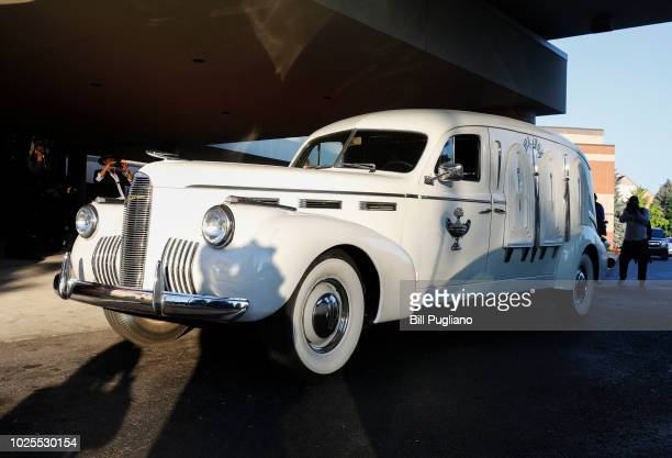 The hearse that carried the remains of soul music icon Aretha Franklin is shown at Greater Grace Temple for the singer's funeral on August 31 2018 in...