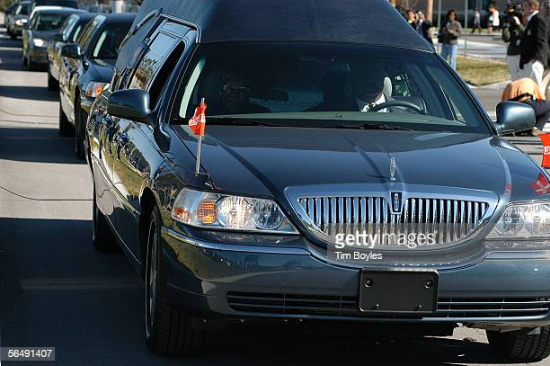 The hearse transporting the body of James Dungy son of Indiapolis Colts head coach Tony Dungy leaves the funeral December 27 2005 in Tampa Florida...