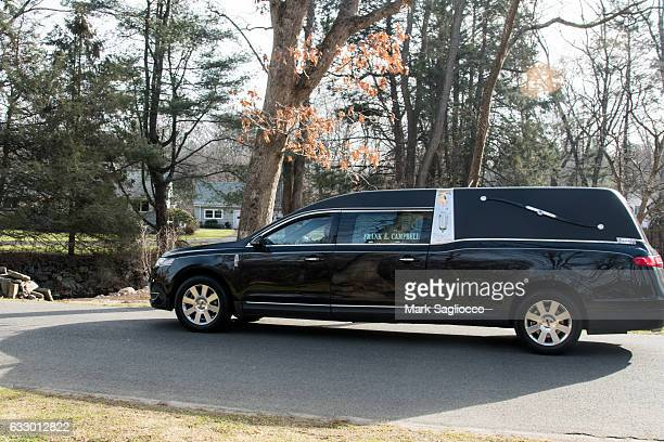 The hearse with Mary Tyler Moore arrives at Oak Lawn Cemetery on January 29 2017 in Fairfield Connecticut Moore passed away on January 25 2017