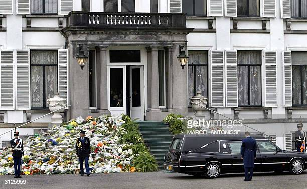 The hearse with the remains of Princess Juliana is passing by the steps of Palace Soetdijk for the last time 25 March 2004 Princess Juliana who was...
