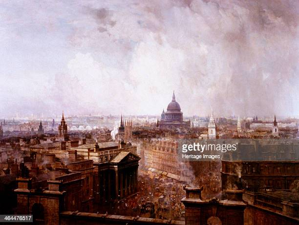 'The Heart of the Empire' 1904 view of London looking west from the roof of the Royal Exchange with Mansion House in the foreground to the left and...
