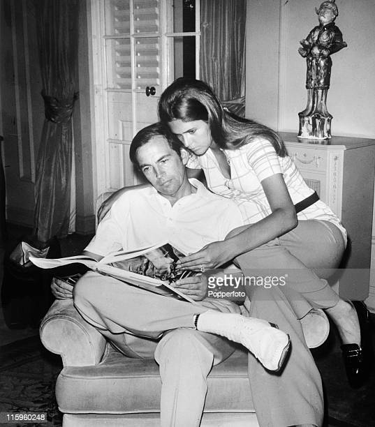 The hearttransplant surgeon Doctor Christian Barnard and his second wife Barbara at home in Cape Town South Africa circa 1970