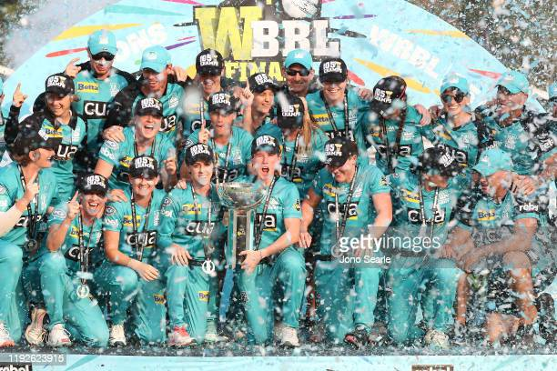 The Heat celebrate the win during the 2019 Women's Big Bash League Final match between the Brisbane Heat and the Adelaide Strikers at Allan Border...