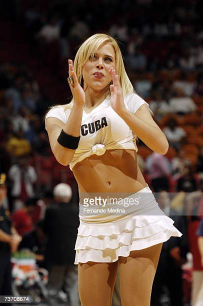 The Heat Dancers entertain the crowd during the NBA game between the Miami Heat and the Minnesota Timberwolves at American Airlines Arena on March 9...