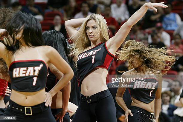 The Heat Dancers entertain the fans during the NBA game between the Philadelphia 76ers and the Miami Heat at American Airlines Arena on March 18 2003...