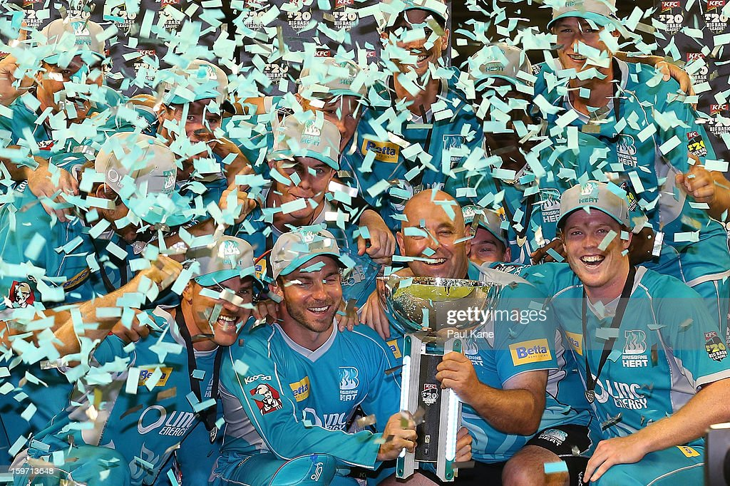 The Heat pose with the trophy after winning the Big Bash League final match between the Perth Scorchers and the Brisbane Heat at the WACA on January 19, 2013 in Perth, Australia.