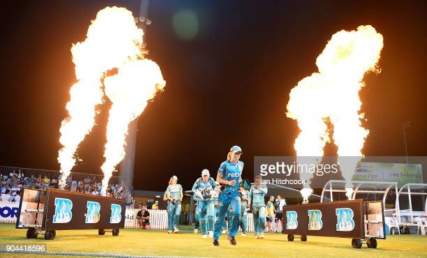 The Heat run onto the field during the Women's Big Bash League match between the Brisbane Heat and the Melbourne Stars on January 13 2018 in Mackay...