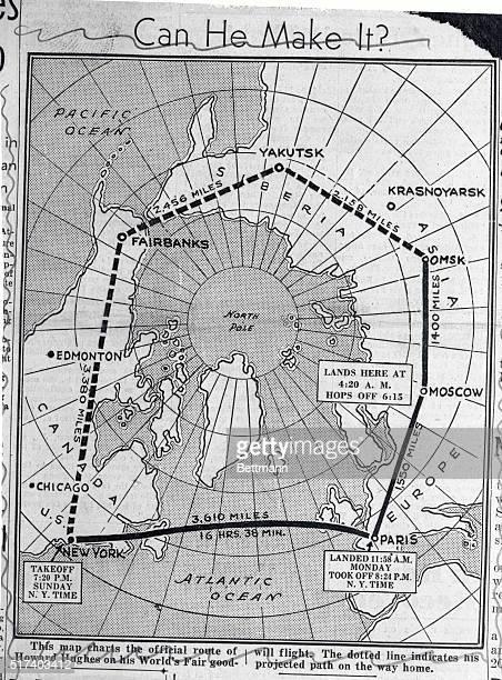 The heavy black line on the above map shows the distance that Howard Hughes millionaire sportsman pilot and his four companions have covered in their...