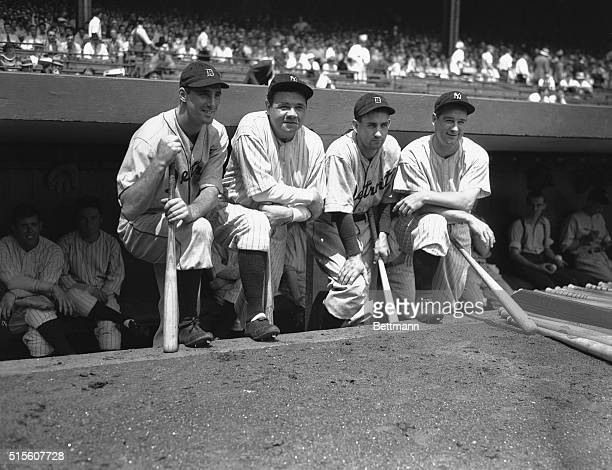 The heavy guns of the Detroit Tigers and New York Yankees as they appeared at the Yankee Stadium New York August 14th just before the Tigers and...