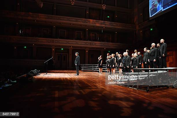 The Heavy Medal Chorus performs onstage during the Youth Barbershop Quartet Contest at the Schermerhorn Symphony Center where over 6000 harmony...