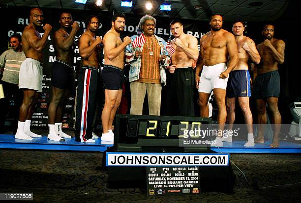 The heavyweights at weighin with a combined weight of 2130 lbs Evander Holyfield Hasim Rahman Chris Byrd John Ruiz Don King Andrew Golota Jameel...