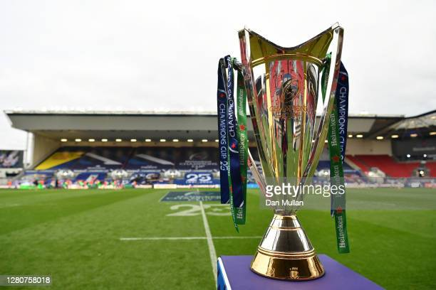The Heineken Champions Cup Trophy is seen prior to the Heineken Champions Cup Final match between Exeter Chiefs and Racing 92 at Ashton Gate on...