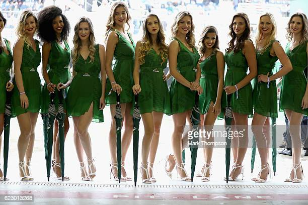 The Heineken grid girls before the Formula One Grand Prix of Brazil at Autodromo Jose Carlos Pace on November 13 2016 in Sao Paulo Brazil