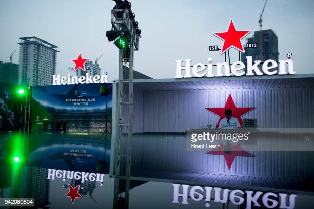 The Heineken logo is displayed at the UEFA Champions League Trophy Tour presented by Heineken on April 4 2018 in Phnom Penh Cambodia