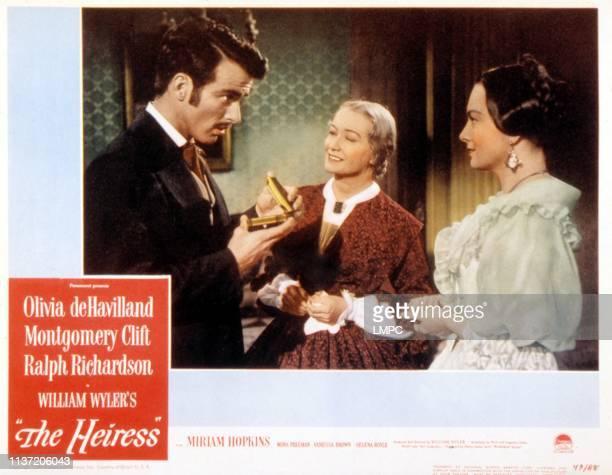 The Heiress, lobbycard, Montgomery Clift, Miriam Hopkins, Olivia de Havilland, 1949.