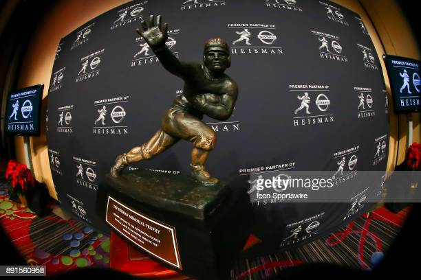 The Heisman Trophy on display during the Heisman Trophy Winner Press Conference on December 9 at the Marriott Marquis in New York Coty NY
