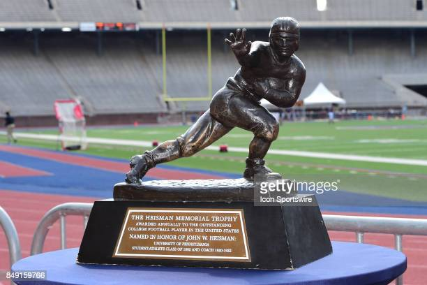 The Heisman Trophy sits on a table during a college football game between the Penn Quakers and the Ohio Dominican Panthers on September 16 2017 at...