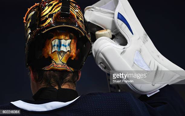The helemet of a goal keeper shows the national flag of Finland during practice for Team Finland at the Hartwell Areena on September 7 2016 in...