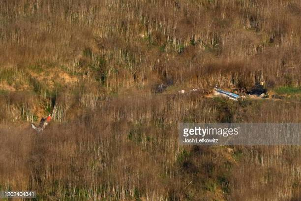 The helicopter crash site that claimed the life of former NBA great Kobe Bryant is shown on January 27 2020 in Calabasas California Bryant his...