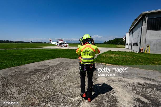 The Helicopter emergency medical personnel are preparing to take off at the interpretive base on June 28, 2020 in Turin, Italy. The HEMS helicopter...