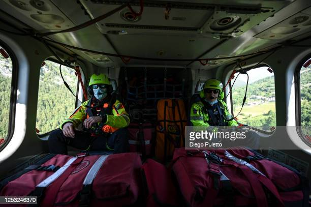 The Helicopter emergency medical personnel during a search and rescue operation in the Alpine region on June 28, 2020 in Turin, Italy. The HEMS...