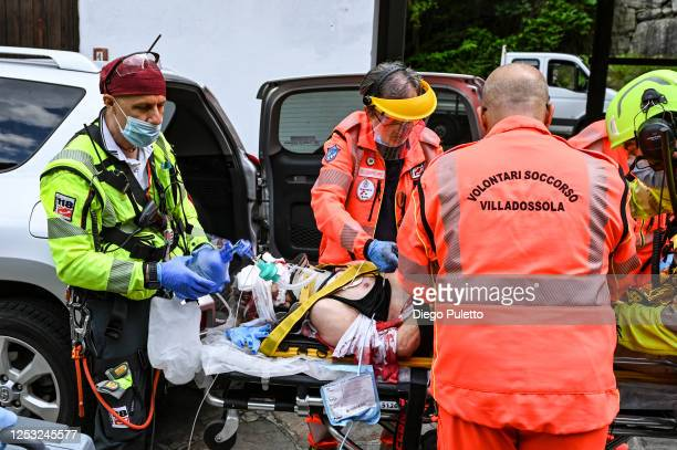 The Helicopter emergency medical staff doctor assists a patient during a rescue operation on June 28, 2020 in Turin, Italy. The HEMS helicopter...
