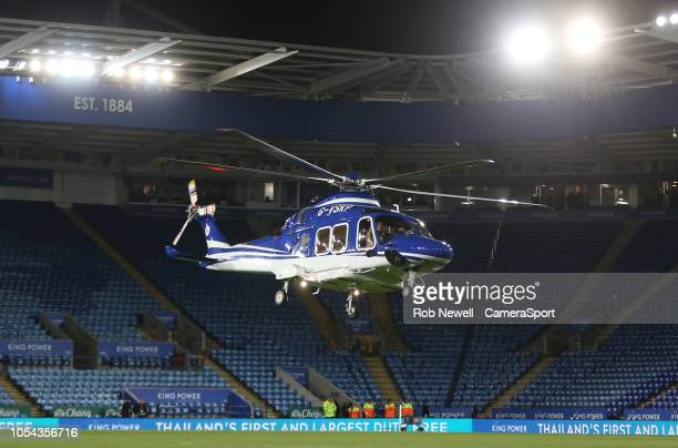 The helicopter of Leicester City owner Vichai Srivaddhanaprabha lands on the pitch at the end of the game before making it's final fateful journey...