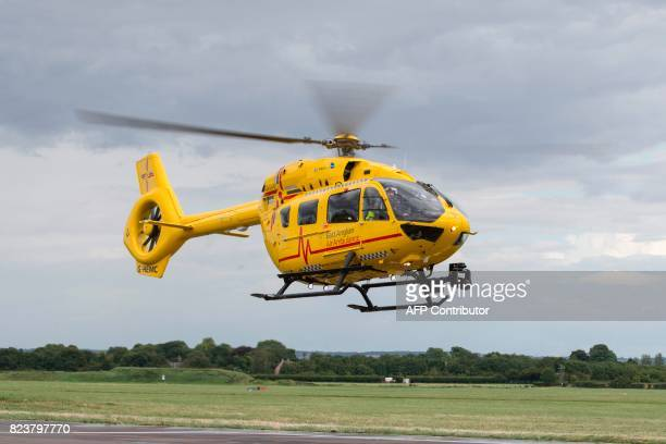 The helicopter takes off as Britain's Prince William Duke of Cambridge attends his final shift working with the East Anglian Air Ambulance as a pilot...