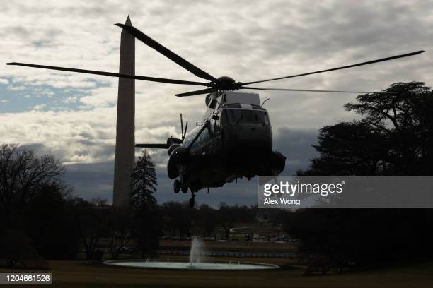 The helicopter that will serve as the Marine One lands at the South Lawn prior to U.S. President Donald Trump's departure from the White House...