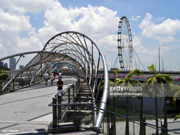 The Helix bridge at Marina Bay, Singapore, Southeast Asia, Asia