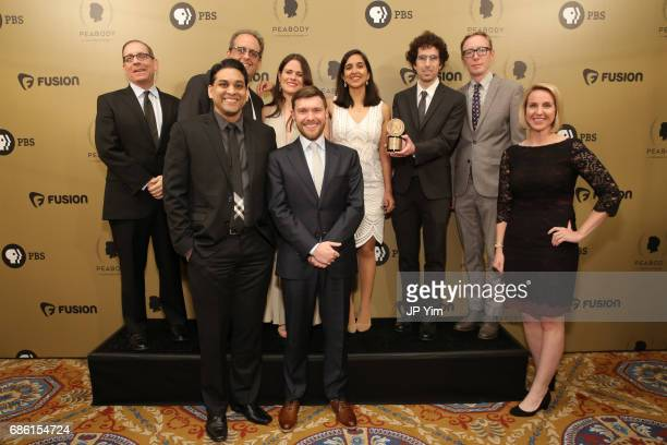 The Hell and High Water filmmakers pose with an award during The 76th Annual Peabody Awards Ceremony at Cipriani Wall Street on May 20 2017 in New...