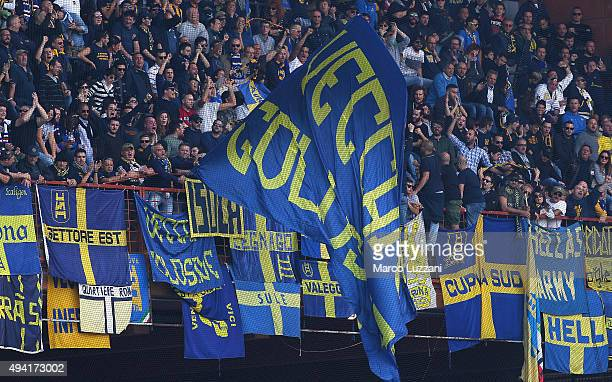 The Hellas Verona FC fans show their support during the Serie A match between UC Sampdoria and Hellas Verona FC at Stadio Luigi Ferraris on October...