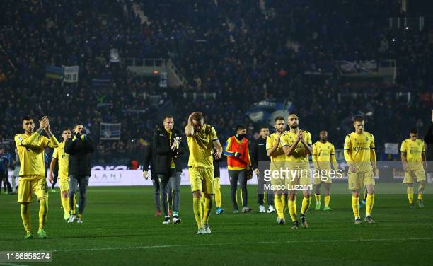 The Hellas Verona players shows their dejection at the end of the Serie A match between Atalanta BC and Hellas Verona at Gewiss Stadium on December 7...