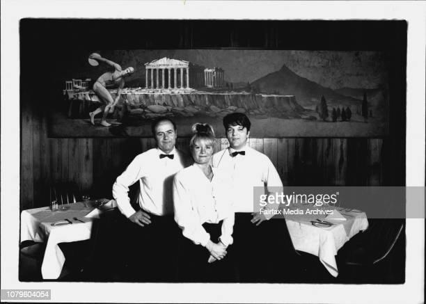The Hellenic Club Restaurant 5th Floor Elizabeth St SydneyL To R Theo Papoulias Bar man amp club managerJennifer Kidd WaitersAngelo Nikopoulos Waiter...