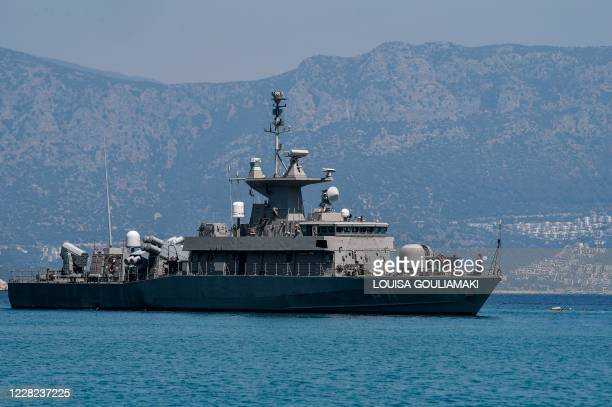 The Hellenic Navy Roussen or Super Vita class Fast Missile Patrol Boat P 71 HS Ritsos is seen off the tiny Greek island of Kastellorizo, officially...