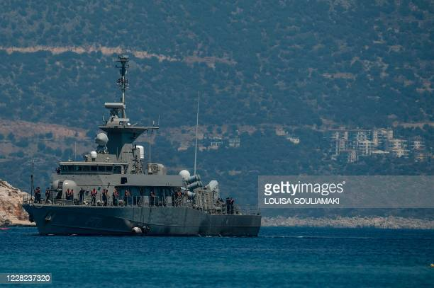The Hellenic Navy Roussen or Super Vita class Fast Missile Patrol Boat P 71 HS Ritsosy is seen off the tiny Greek island of Kastellorizo, officially...
