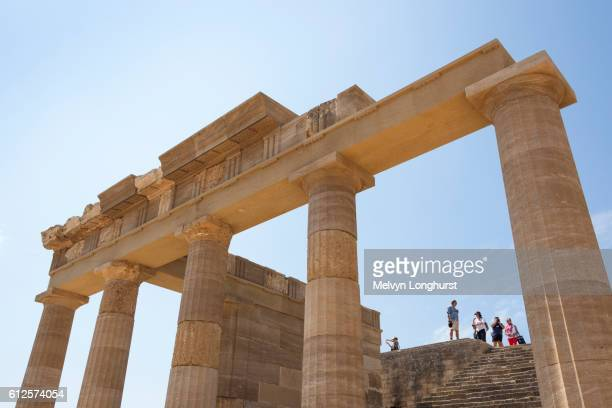 The Hellenistic Stoa and steps to the Propylaea at the Acropolis, Lindos, Rhodes, Greece