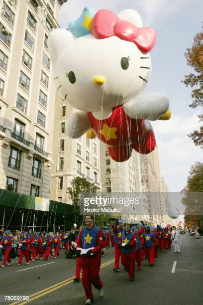 The Hello Kitty balloon is paraded during the 81st annual Macy's Thanksgiving Day Parade on November 22 2007 in New York City